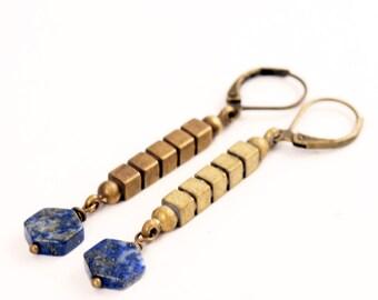 Geometric Lapis Lazuli Hexagon Earrings, Art Deco Style, Leverback Earrings