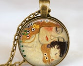 Mothers day necklace ,Mother and Child necklace Gustav Klimt , mother and child pendant with rolo chain and gift bag