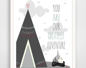 Kids Wall Art Print, Nursery Art, Children Wall Art. You Are Our Greatest Adventure... print by Finny and Zook