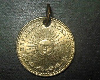 Authentic Argentina Flag Radiant Sun of May Coin Pendant