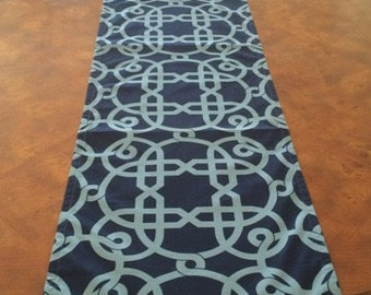 Navy Trellis Table Runner
