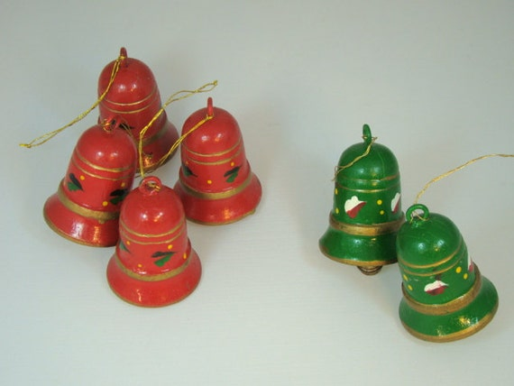 Vintage christmas ornaments bell wooden