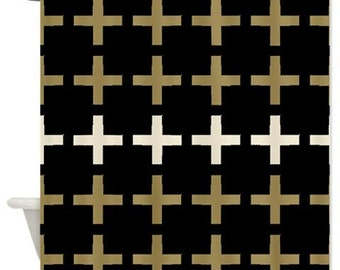 Plus Sign Shower Curtain In Black, Tan/gold, And Natural Colors.