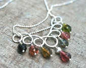 Tourmaline Gemstone Sterling Silver Handmade Necklace 16 Inches