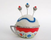 SHOP CLOSING SALE - Pin Cushion - Needle Felted - In Vintage Child's Tin Tea Cup - White, Red, And Blue - Hearts And Flowers