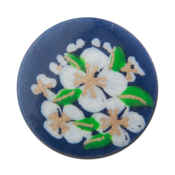 Vintage Navy Blue with White Flowers Cabochons Japan 13mm cab380D