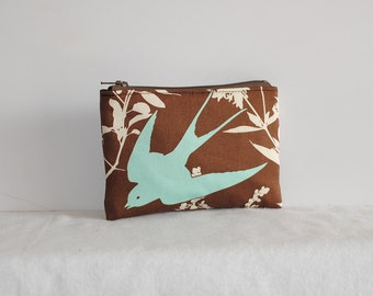 Little Zipper Pouch - Swallow Study in Chocolate
