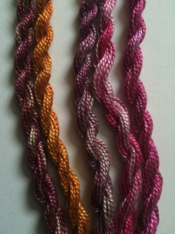 Raspberry, Plum and Orange, Collection of 5 threads for embroidery and more