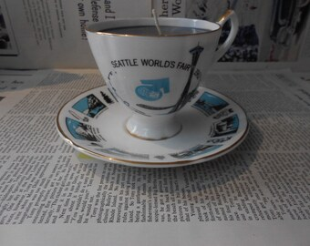 "Cup and Saucer Soy Candle ""Fig""  1962 Seattle Souvenir"