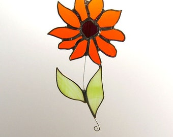 Handcrafted Stained Glass Orange Daisy Suncatcher Sun Catcher