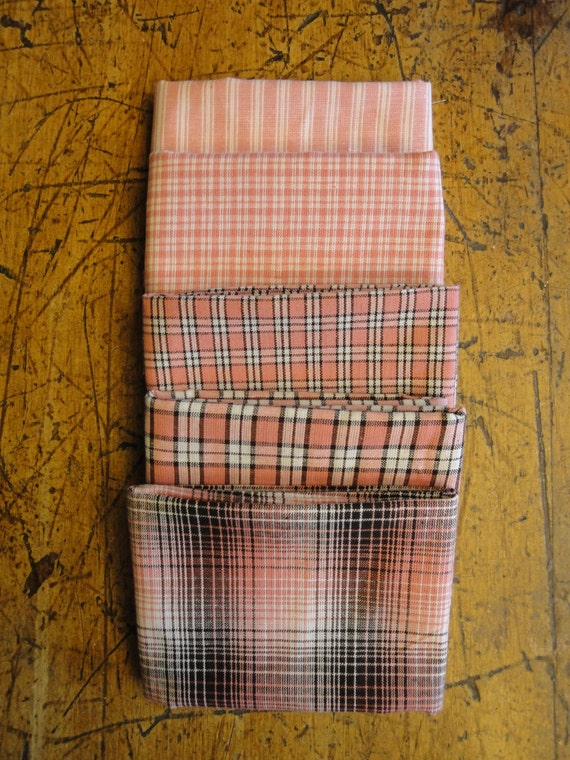 homespun fabric fat quarter bundle rose mocha and white plaid bundle of 5 from. Black Bedroom Furniture Sets. Home Design Ideas