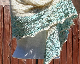 Hand Knit Lace Shawl / Scarf - Seaside Briargate