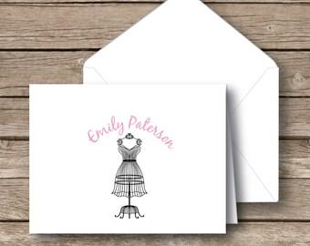 Personalized stationery, folded notecards, dress card, pretty dress stationery, girl stationery, folded stationery with envelopes, set of 12
