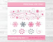 Pink Snowflake Clipart / ...