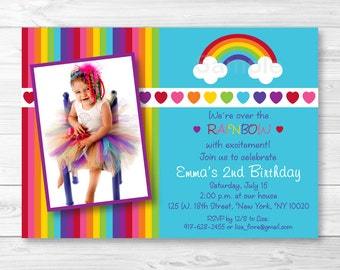 Rainbow Birthday Invitation / Rainbow Hearts / Over The Rainbow / PRINTABLE