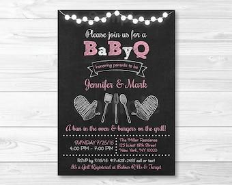 Chalkboard BBQ Baby Shower Invitation / BaByQ Baby Shower Invitation / Baby Girl Shower / PRINTABLE