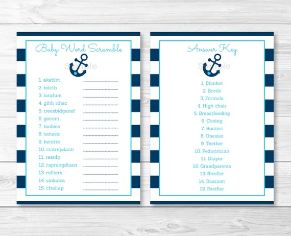 Anchor Baby Shower Word Scramble / Anchor Baby Shower / Nautical Baby ...