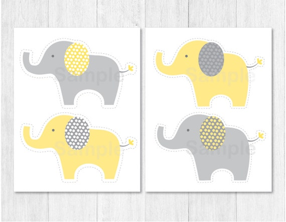 Yellow grey elephant party cutouts decorations printable for Baby shower decoration cutouts