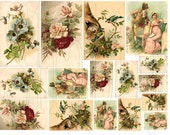 Shabby Chic Victorian roses and flowers Digital collage sheet for card making and scrapbooks