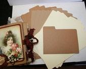 12 med mini File Folders kraft brown cream color collection for scrapbooking PEM100