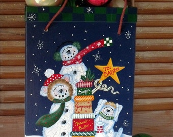 """Hand Painted """"SNOW BUDDIES"""" Christmas Box Tote - Primitive - Whimsical - Folk Art - Gift Box - Gift Tote - Holiday Decoration - Snowmen"""