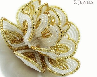 Brides hair fascinator clip,  French beaded flower Golden Goddess , weddings, prom, parties