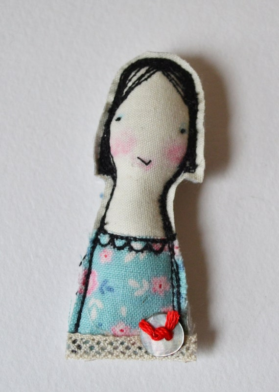 BROOCH pin free machine embroidered girl