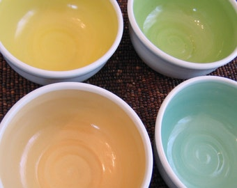 Spring Ceramic Soup or Cereal Bowls - Set of 4 Pottery Bowls Stoneware