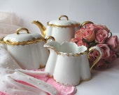 Antique Moritz Zdekauer Austrian Teapot Cream and Sugar Set