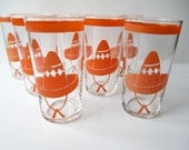 Vintage Homer Laughlin Orange Sombrero Hacienda Mexicana Glass Tumblers Set of Seven