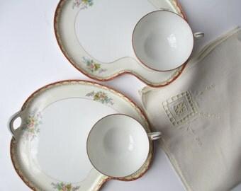 Vintage Noritake Floral Snack Plate and Teacup Pair
