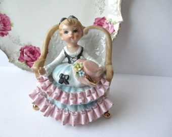 Vintage Pink Blue Girl Figurine - So Sweet