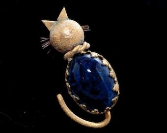 Golden Brass Kitten Pin with Blue Stone