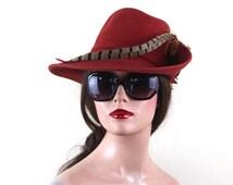 super fly 1970s rust wool felt hat with dramatic feather - Mr K Originals, Geo W Bollman