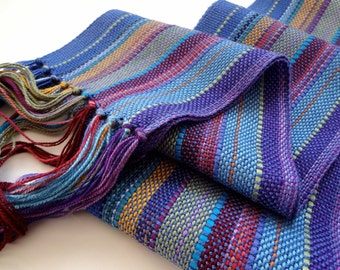handwoven rayon scarf blue in a blend of colorful hues