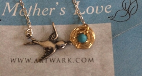 Mothers Love necklace Antiqued SILVER GOLD plated Bird nest necklace sparrow birdy nesting