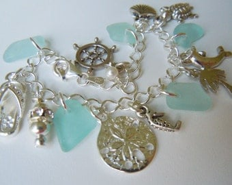 Sea Glass Bracelet, Aqua Sea Beach Glass Jewelry Seaglass Charm Bracelet