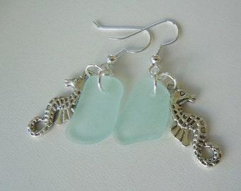 Aqua Sea Glass Seahorse Earrings - Modern Jewelry Beach Glass Earrings Dangle Earrings