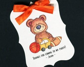 Boys Birthday Party Favor Tags - Birthday Party Tags - Boys BIrthday Tags - Personalized Tags - Bear - 20