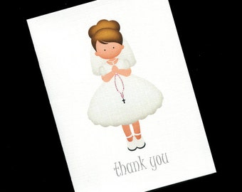 First Holy Communion Thank You Cards - Thank You Cards - Girls Thank You Cards - Communion Girl - Light Hair - Set of 20