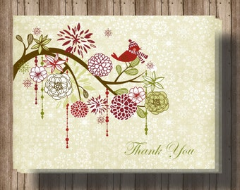 CHRISTMAS THANK YOU Cards Winter Folded Notecards Boxed Set of 10/ Beautiful Winter Bird Thank You Cards/Holiday Thank You