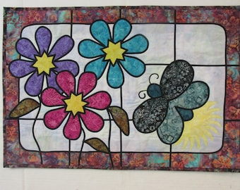 Lightening Bug Lane in Stained Glass Wallhanging - REDUCED
