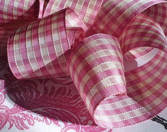 "Vintage Taffeta Checked Ribbon Pink and Soft White (2"" wide)"