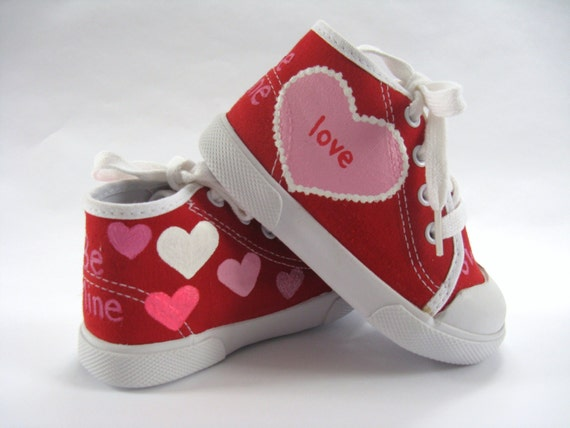 Valentine Heart Shoes, Red Hi Top Sneakers, Valentine Outfit, 1st Valentine's Day Gift, Hand Painted for Baby or Toddlers