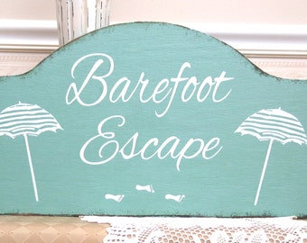 Barefoot Escape beach house sign, rustic beach house sign, wooden beach sign, footprints in sand sign,