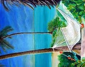 "The Hammock - Andros Island, Bahamas - 24"" x 60""  Original Acrylic Painting on Masonite"