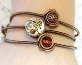 Steampunk - 3 Bracelets - Amber