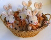 One Vintage Mohair Stuffed Animal Rabbits Jointed Mini Easter