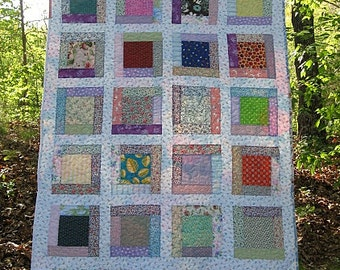 """crib quilt, toddler quilt,baby girl farmhouse quilt, lap quilt,  - 39"""" x 48"""" -  reversible -  Ready to ship"""