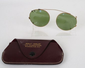 Vintage 50s Aviator Clipon Sunglasses and Case